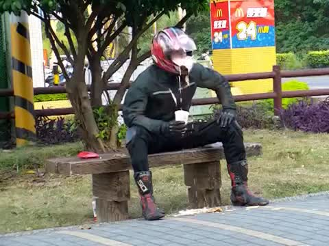 Watch Eating McDonald's food....the true biker way. GIF on Gfycat. Discover more Drive, Ronald, always, biker, burger, cheese, chicken, day, eating, fries, hungry, life, lunch, mcdonalds, pizza, way GIFs on Gfycat