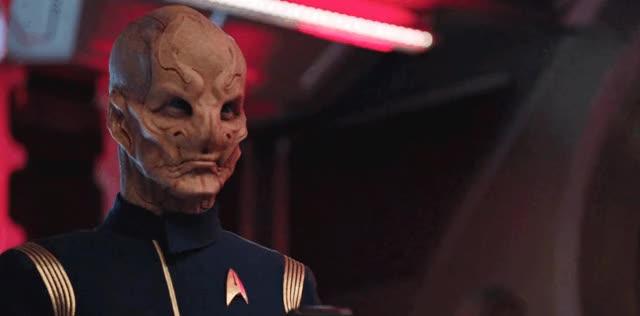 Watch this trending GIF by Star Trek gifs (@star-trek-gifs) on Gfycat. Discover more DSC, Discovery, Doug Jones, Reaction, Saru, Star Trek, Star Trek Discovery GIFs on Gfycat