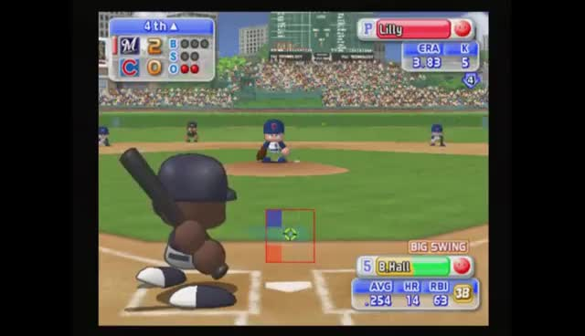 MLB Power Pros 2008 Gameplay Cubs vs. Brewers (PS2) GIFs