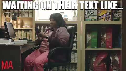 ma, ma movie, meme, octavia spencer, texting, wait, waiting, MA Octavia Spencer Waiting For a Text GIFs