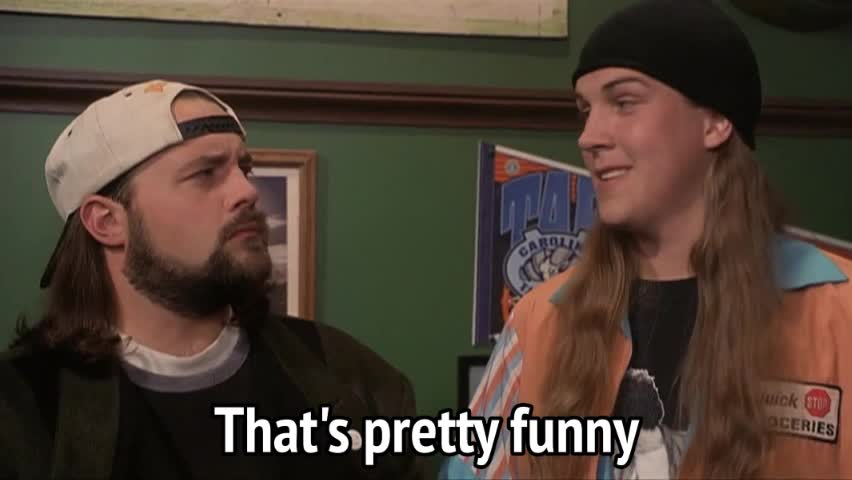 funny, hilarious, jason mewes, jay & silent bob, jay and silent bob strike back, kevin smith, Jay and Silent Bob Strike Back - That's pretty funny GIFs