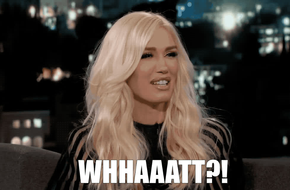 a, blake, confused, confusion, funny, gwen, hmm, jimmy, kimmel, minute, never, not, shelton, stefani, sure, think, uncertain, wait, whaaat, what, Gwen Stefani - What?! GIFs