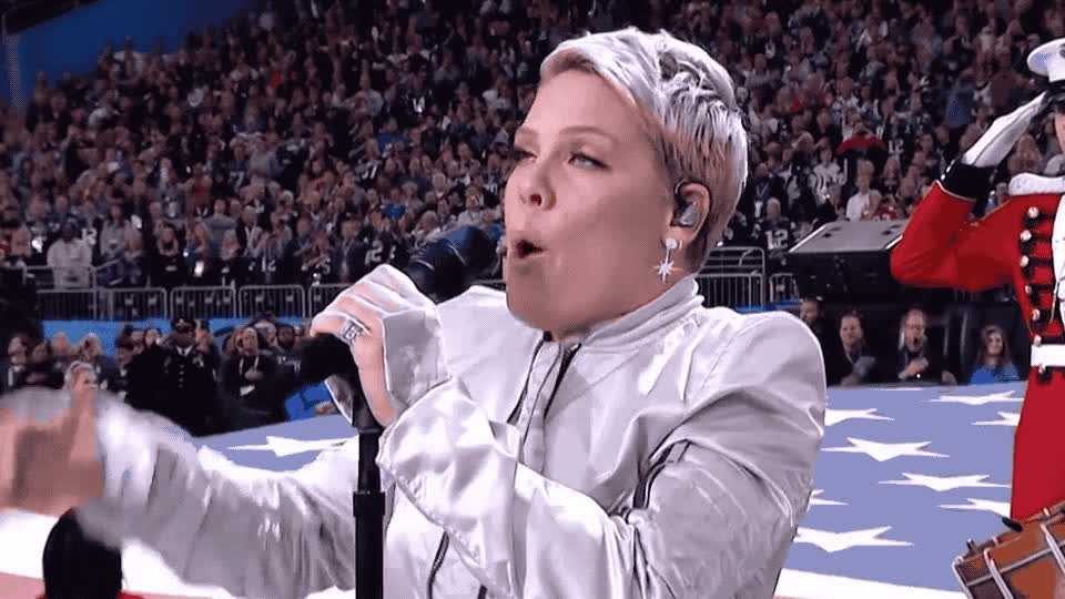 anthem, bowl, game, lii, national, p!nk, performance, pink, proud, super, super bowl, thank, thanks, usa, winner, you, P!nk - Super bowl lii - National anthem performance GIFs