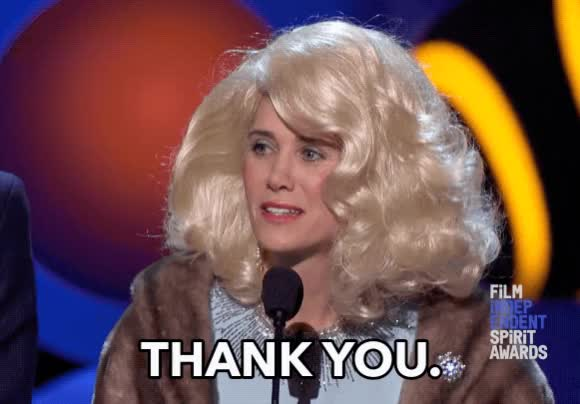 Watch this thank you GIF by sannahparker on Gfycat. Discover more 2018, fay fontaine, film independent, kristen wiig, spirit awards, thank you, thanks GIFs on Gfycat