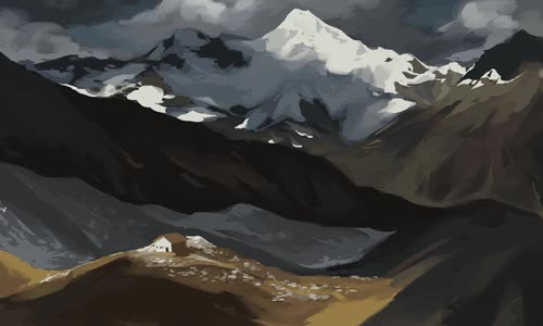 Watch this art GIF by @painting on Gfycat. Discover more art, birds, house, overcast, snow, the mountains GIFs on Gfycat