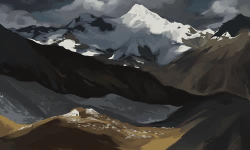art, birds, house, overcast, snow, the mountains, the mountains GIFs
