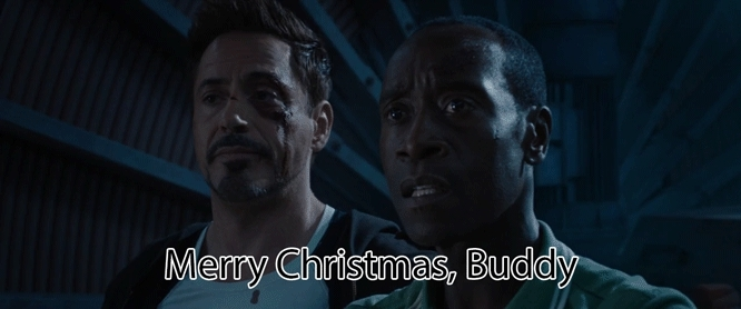 avengers, christmas, don cheadle, gfycatdepot, iron man, james rhodes, robert downey jr, tony stark, war machine, Merry Christmas, buddy [Iron Man 3 Tony Stark Col. James