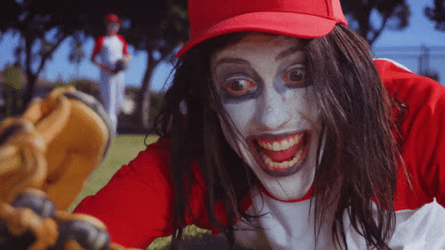 baseball, california here we go, clown, crazy, crazy eyes, the garden, Crazy Eyes Baseball Clown GIFs