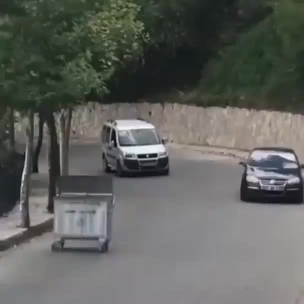 Watch and share Rubbish Bin Chasing Car GIFs by cenotaph on Gfycat