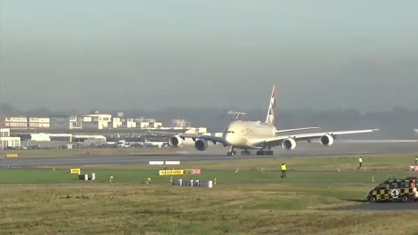 Watch and share ETIHAD AIRWAYS Airbus A380 | First Takeoff In Full Livery (reddit) GIFs on Gfycat