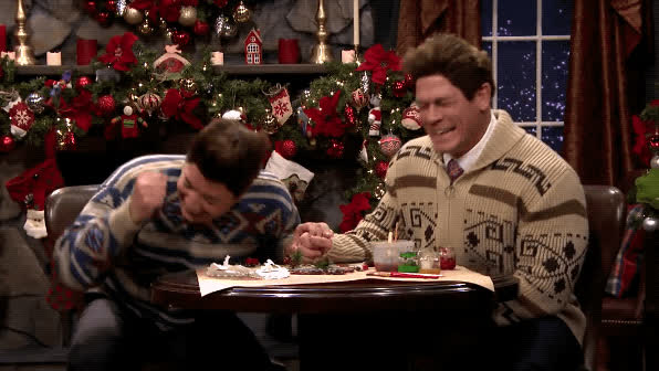 breaking character, christmas sweaters, cracking up, funny, hilarious, holidays, jimmy fallon, john cena, laughing, lol, mad lib theater, tonight show, Mad Lib Theater With John Cena - The Tonight Show GIFs