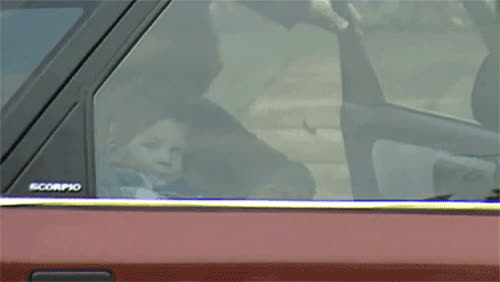 Prince Harry with Princess Diana in the car, 1987 GIFs