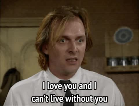 bottom, i love you, love confession, rik mayall, Bottom - I love you and I can't live without you GIFs