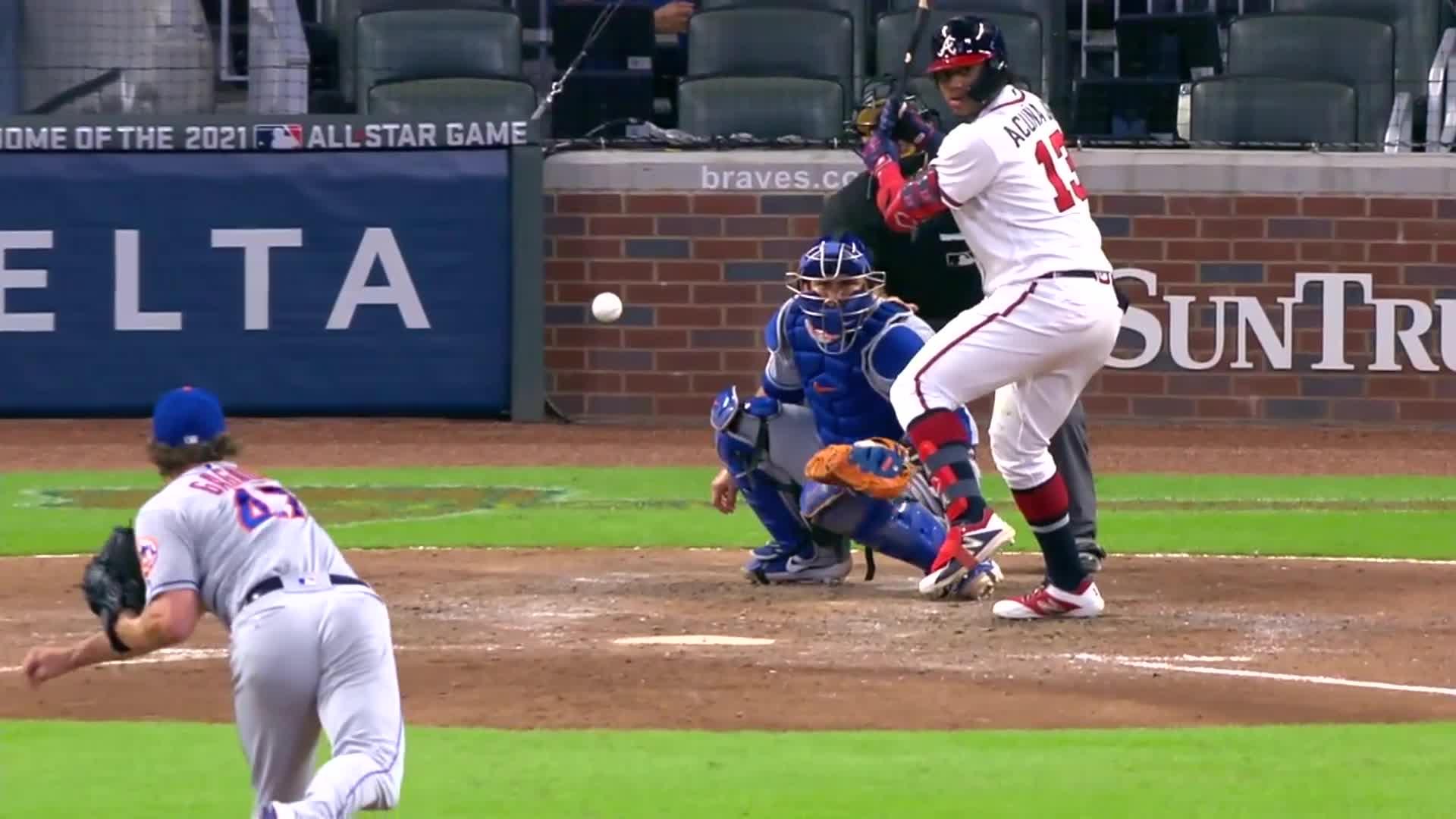 atlanta, atlanta braves, baseball, braves, home run, Ronald Acuña Jr. admires his 35th home run as it leaves the park. GIFs