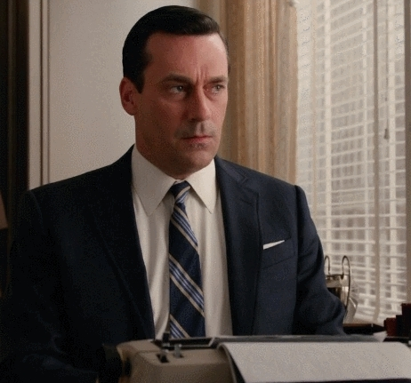 madmen, [SPOILERS][S07E04 ending scene] I really like subtle Madmen stuff like this: Don types, camera slowly zooms in. Don stops, zoom stops. Don types again, camera zooms again. (reddit) GIFs