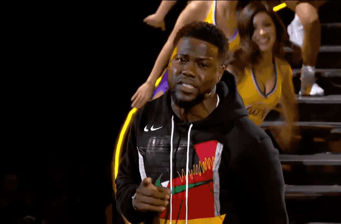 2018, a, all, care, dgaf, dont, fuck, game, give, hart, idea, kevin, kevin hart, know, lebron, nba, no, star, stephen, team, Kevin Hart leads 2018 NBA all star game GIFs