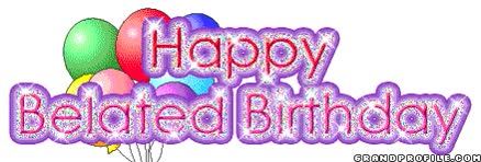 Watch and share Happy-Belated-Birthday-42.gif animated stickers on Gfycat