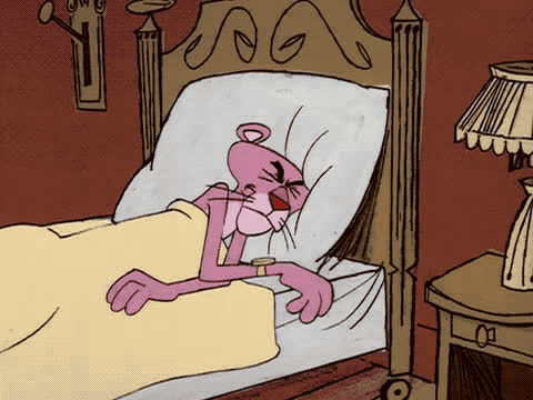 alarm, bed, get, good, good moring, morning, night, of, panther, pink, sleep, stretch, the, time, tired, to, up, wake, Pink Panther - Wake up GIFs