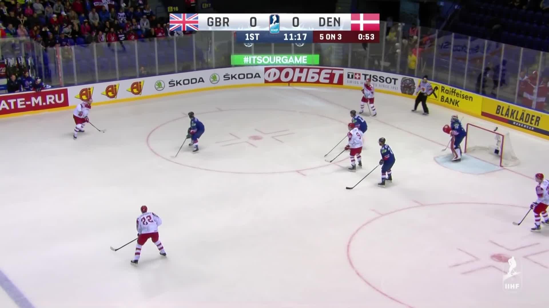 IIHF Worlds 2019, NL_ID1150280, NL_ID1150299, NL_T690G21P1S11:10, Sports, nearlive, Lars Eller assists on goal by Jesper Jensen for Team Denmark IIHF GIFs
