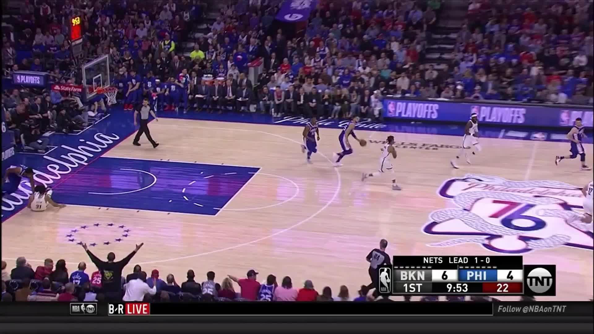 Ben Simmons, Brooklyn Nets, NBA, Philadelphia 76ers, basketball, Ben Simmons transition attack Brooklyn Game Two GIFs