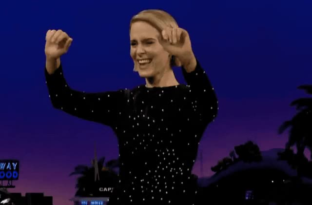 Watch this curated GIF by GIF Queen (@ioanna) on Gfycat. Discover more awesome, celebrate, corden, dance, dancing, epic, excited, exciting, great, happy, james, late, late late, night, ocean's, paulson, sarah, show, yay, yeah GIFs on Gfycat