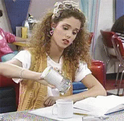 Elizabeth Berkley, caffeine, coffee, jessie spano, saved by the bell, sugar, sweet tooth, Jessie Spano Sugar GIFs