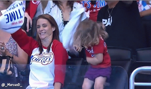 nbaww, Mom and Daughter enjoying the Clippers Thunder game on Mothers day (reddit) GIFs