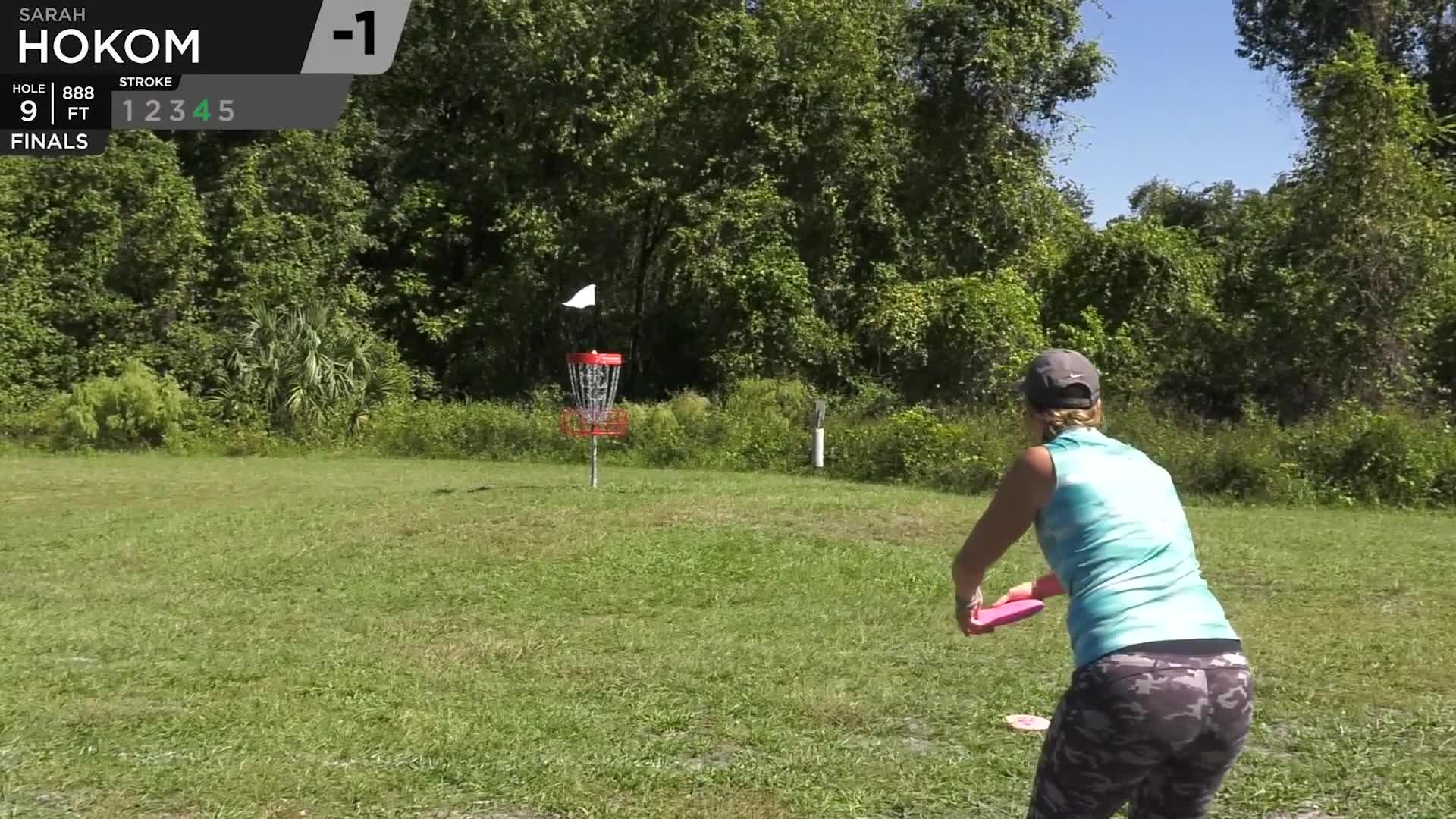 Sports, dgpt, disc golf, disc golf pro tour, sports, FPO Finals 2018 DGPT Championship - F9 | Sarah Hokom hole 9 putt GIFs