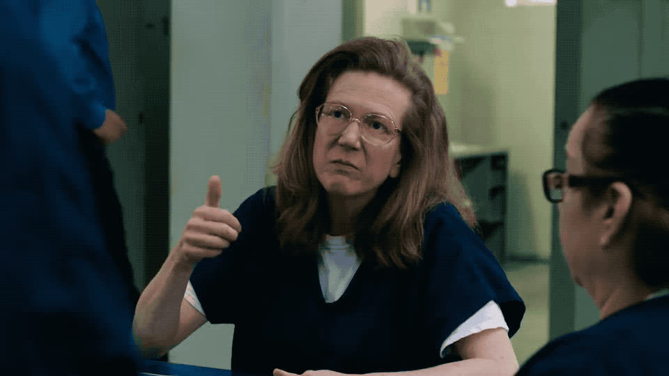angry, black, disappointed, dislike, down, fail, fight, is, look, mad, new, no, not, off, oitnb, orange, pissed, prison, the, thumbs, Orange is the new black - Season 6 GIFs