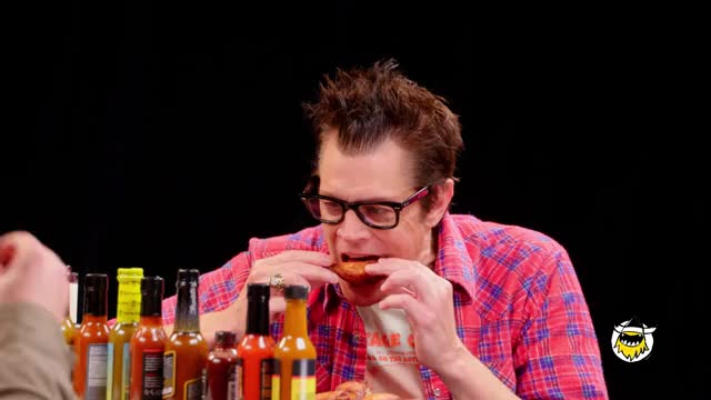 Watch Johnny Knoxville Gets Smoked By Spicy Wings | Hot Ones GIF on Gfycat. Discover more First we feast, chef, cook, cooking, firstwefeast, food, food porn, fwf, kitchen, recipe GIFs on Gfycat