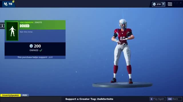 Watch DENIED GIF on Gfycat. Discover more Battle, Blitz, Fort, Gridiron, NEW, chord, denied, fortnite, interceptor, italkfortnight, italkfortnite, nfl, nite, power, puchase, rambunctious, royale, spike, talk, touchdown GIFs on Gfycat