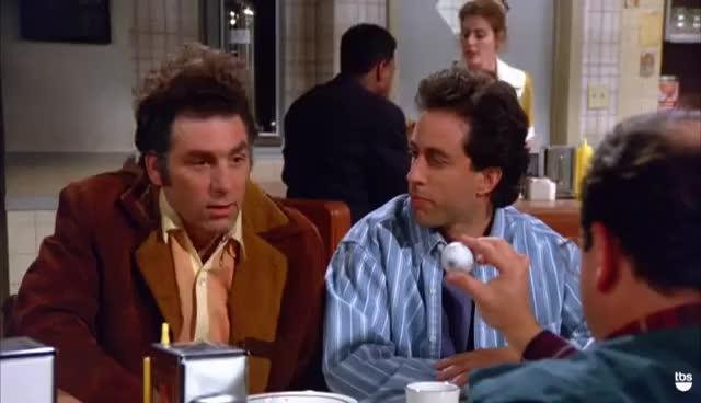 george costanza, jason alexander, jerry seinfeld, kramer, seinfeld, Titleist | Seinfeld | TBS GIFs