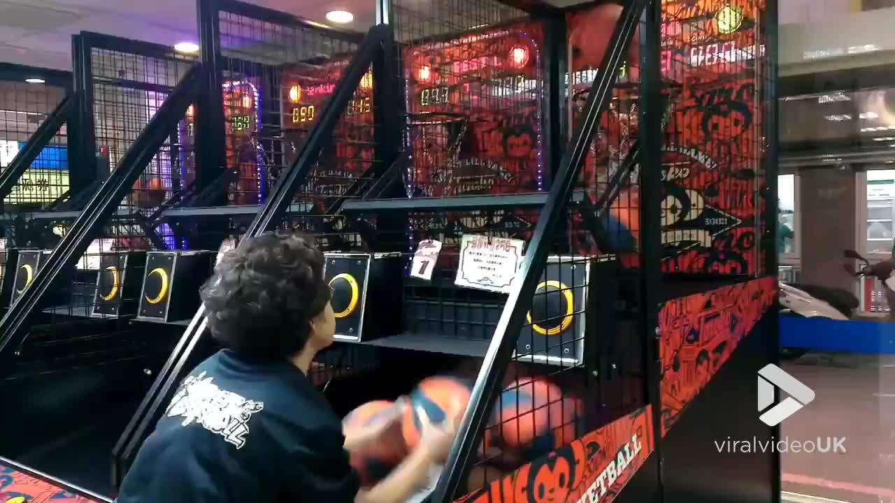 Hoop, arcade, ball, basketball, grandma, skill, skills, sport, sports, throw, Grandma hoop ninja kills it || Viral Video UK GIFs