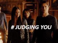 vampire diaries, elena, damon, judging you, skeptical
