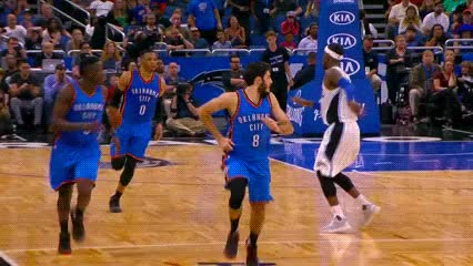 Watch and share Russell Westbrook — Oklahoma City Thunder GIFs by Off-Hand on Gfycat