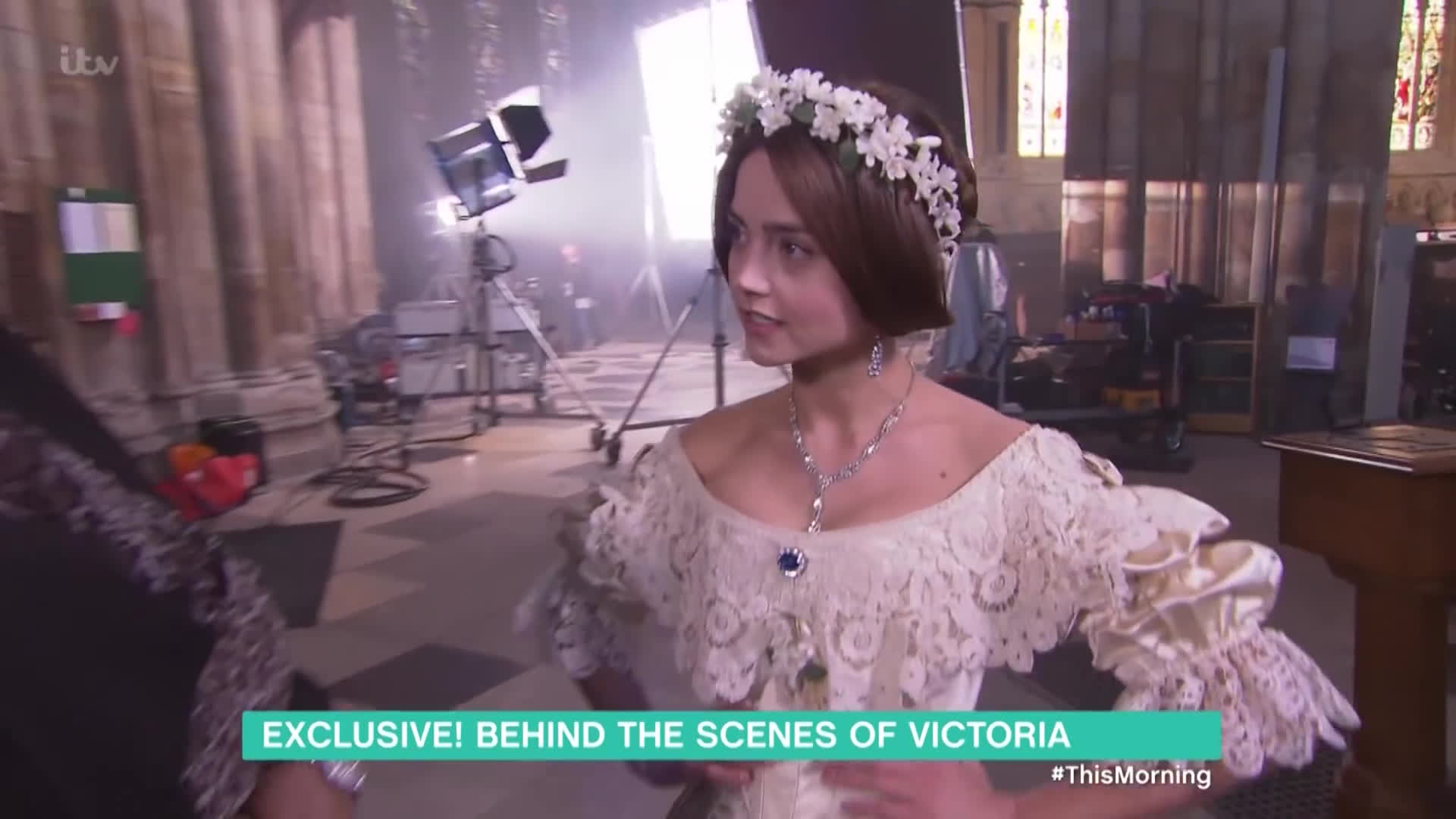 celebrity interviews, jennalouisecoleman, tv news, Jenna Coleman Backstage At Victoria And Albert's Wedding | This Morning GIFs