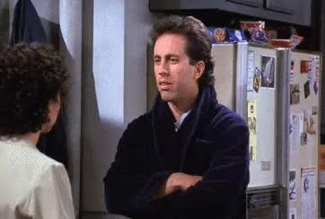 jerry seinfeld, julia louis dreyfus, julia louis-dreyfus, seinfeld, shrug, Jerry's Dating Pet Peeves GIFs