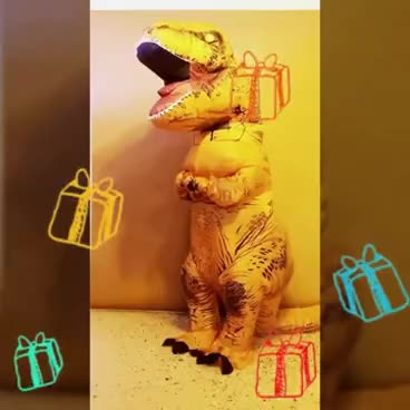 Happy Birthday From Tooth The T Rex In Inflatable Costumes GIF