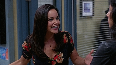 GfycatDepot, Melissa Fumero, boxoffice, Really? Yes, fuck yeah! Oh yeah! fist pumping like a mad man [Brooklyn Nine Nine 99 Detective Amy Santiago Melissa Fumero NYPD] (reddit) GIFs