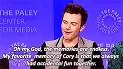 Watch and share Cory Monteith GIFs and Chris Colfer GIFs on Gfycat