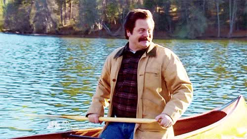 Watch this canoe GIF on Gfycat. Discover more *500, canoe, leslie knope, look at his adorable face!!!, my stuff, myparks, nick offerman, parks and rec, parks and recreation, parksedit, ron swanson, this made my heart happy GIFs on Gfycat