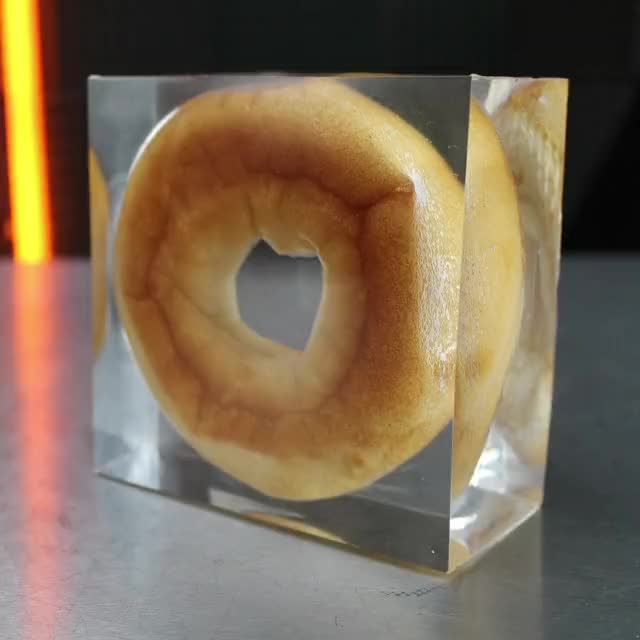 Watch and share Bagel Cast In Resin GIFs and Epoxy Food GIFs by Whathowwhy on Gfycat