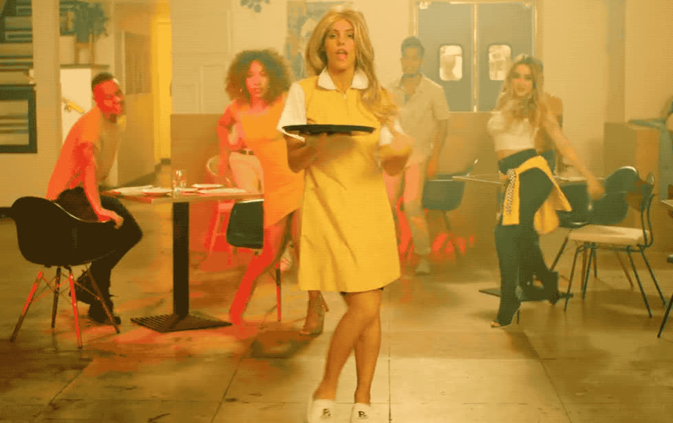 blonde, celebrate, celoso, dance, dancing, excited, funny, lele, like, lol, party, pons, serve, serving, sexy, song, star, this, waitress, youtube, Lele Pons - Celoso GIFs