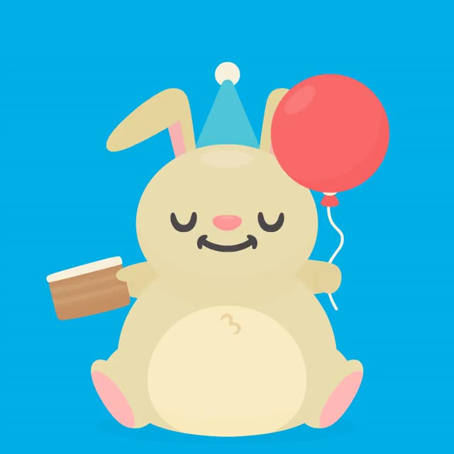Happy Birthday Party Bunny turn up soiree partying fiesta fete festa cumpleanos celebration celebrate cake bunny birthday bday party bday balloon anniversaire aniversario GIF