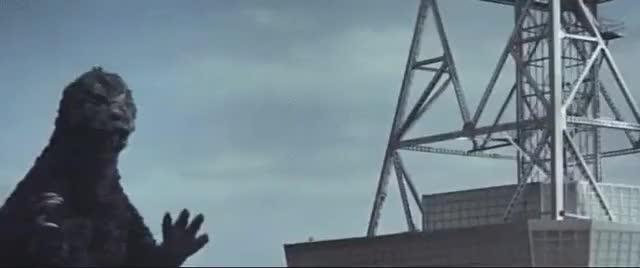 Watch and share Godzilla Vs Radio Tower GIFs on Gfycat