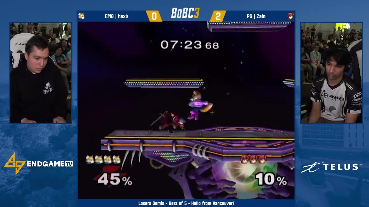 EGTV, EndGameTV, Gaming, Nintendo, Smash, Splatoon, smashgifs, ssmb, EMG hax$ (Fox) vs PG Zain (Marth) | Losers Semifinals | Battle of BC 3 GIFs