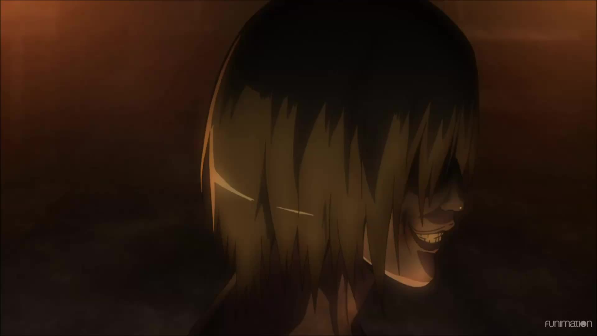 anime, attack on titan, attack on titan episode 8, attackontitan, attackontitanepisode8, dark fantasy, funimation, post apocalyptic, shingeki no kyojin, shinkgekinokyojin, shounen, shounen anime, steampunk, A face only a mother could love. Attack on Titan Ep 8 GIFs