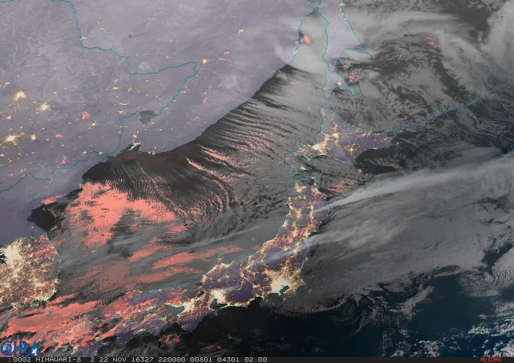 2016/11/23 - Arctic air streaming over the Sea of Japan - Geocolor HTML5 Loop | Animated GIF | MP4 Video GIFs