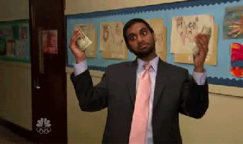 aziz ansari, dollar bills, money, parks and rec, parks and recreation, money aziz ansari cash rich tom haverford GIFs