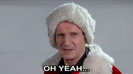 Liam Neeson, christmas, funny, liamneeson, Liam Neeson Auditions for Mall Santa GIFs